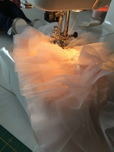 Sewing the ruffled tier top!